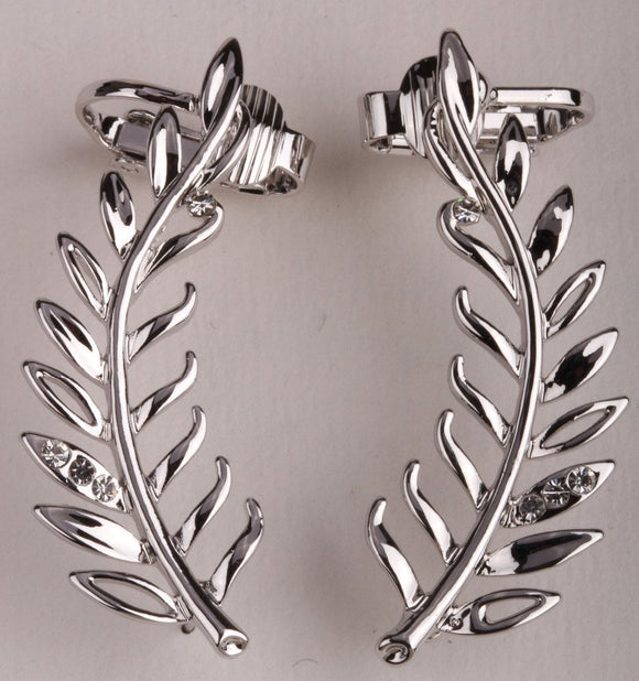 Leaf ear clip cuff earrings gold silver color australian crystal jewelry for women SC34 wholesale ping