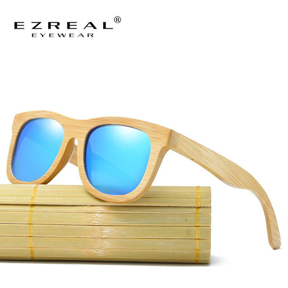 EZREAL Wooden Sunglasses Polarized Bamboo brand Vintage Wood Case Beach Sunglasses for Driving