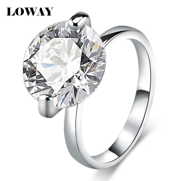 LOWAY Big 10 Carat Proposal Rings for Women Size 10 Cubic Zircon White Anillos Engagement Ring Jewellery