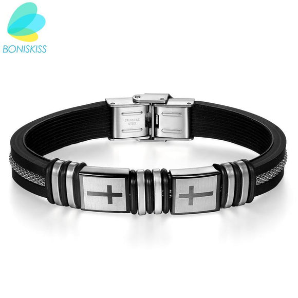 Boniskiss 2017 Silicone Stainless Steel Cross Bracelet Bangle For Men Silver Black Wristband Masculine Cool Jewelry
