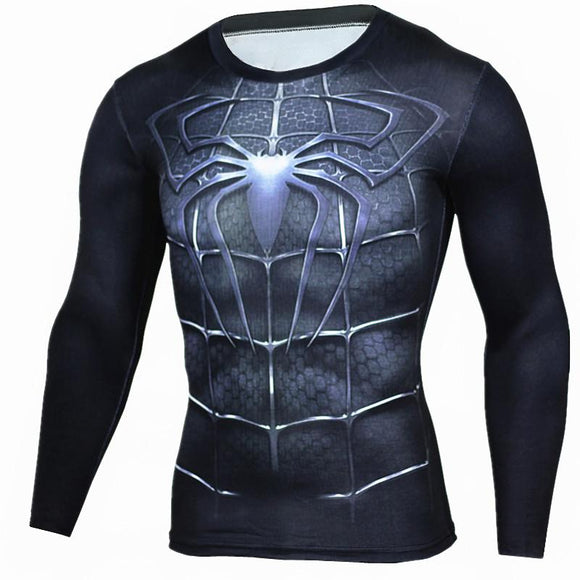 2017 T shirt Compression Shirt Crossfit T-shirt Men Lycra 3D Print Long Sleeve T shirt Fitness Brand Clothing MMA Plus Size