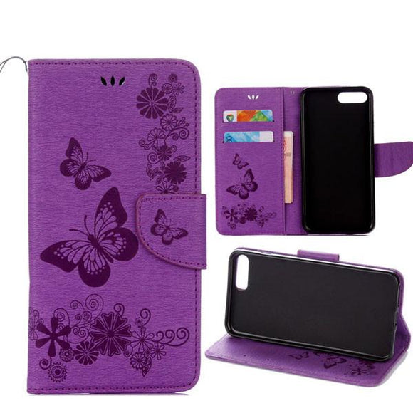 Fashion Butterfly Flower Leather Flip For iphone 7 6 6S Plus SE 5 5S Case Stand Wallet Cover for Samsung Galaxy S7 S6 edge Shell