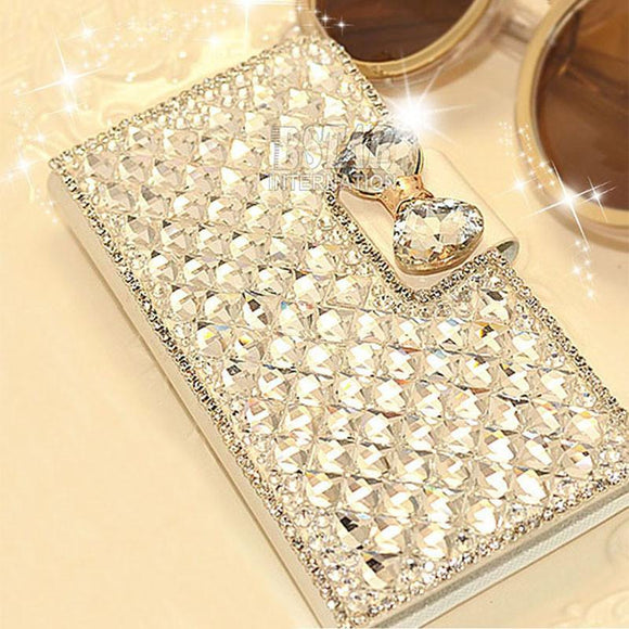 Rhinestone diamond crystal PU leather wallet style stand cover luxury phone case for samsung galaxy note 2 N7100