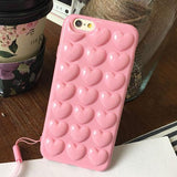 Cute Candy Color 3D DIY Love Heart Phone Cases For iphone 7 6 6S Plus Case Fashion Soft TPU Silicone Cover With Lanyard Shell