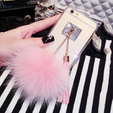 Luxury Fox Fur Ball Pendant Tassel Soft TPU GEL Back Cover Phone Cases For iPhone 7 6 6S Plus 5 5S SE Case