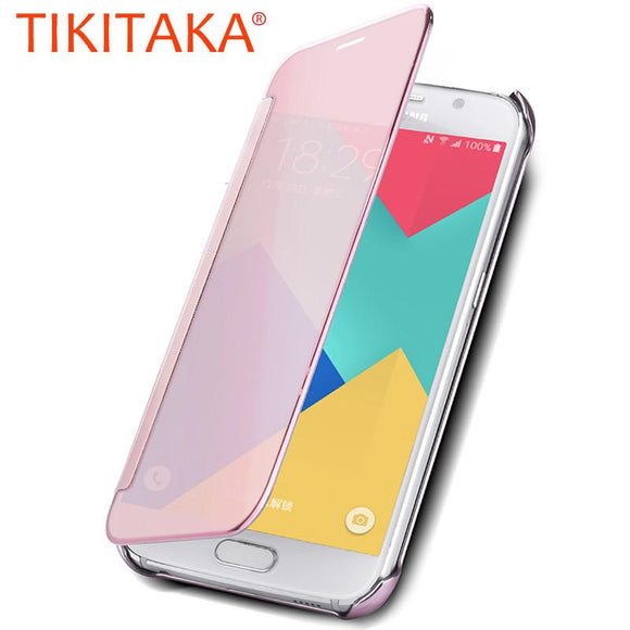 Luxury Plating Mirror Flip Case For Samsung Galaxy J5 J510 J7 J710 Clear Screen View Full Cover Cases For Galaxy A3 A5 A7