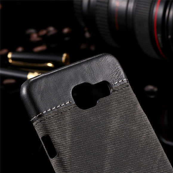 Retro Jean Denim PU Leather Case For Samsung Galaxy A3 A5 J3 J5 J7 Business Style Cowboy Man Canvas Hard PC Cover Shell