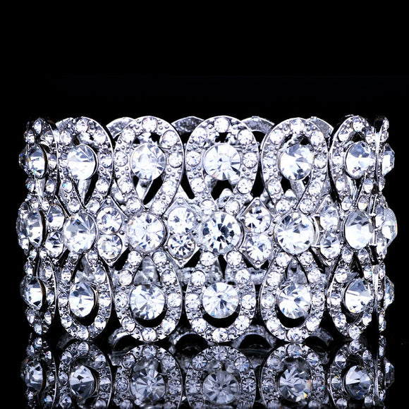 Wedding Jewelry Luxury Full Crystal Rhinestones Gold Color Bracelets for Women Bride Stretch Rope Wide Bracelets & Bangles