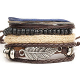 Fashion 1 Set 4PCS leather bracelet Men's multi-layer bead bracelet women's retro punk casual men's bracelet jewelry