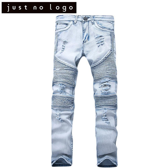Mens Great Stretchy Destroyed Ripped Biker Jeans Tapered Torned Trousers Slim Fit Skinny Straight Moto Denim Distressed Pants