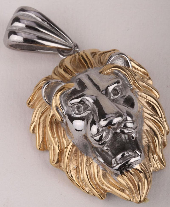 Huge lion men necklace stainless steel 316L pendant W/ chain GN06 biker jewelry wholesale gold & silver tone