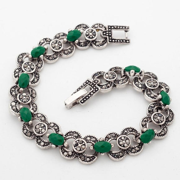 Yunkingdom Indian Woman Bohemian Ethnic Jewelry Silver Color Bracelets Green Stones Jewelry