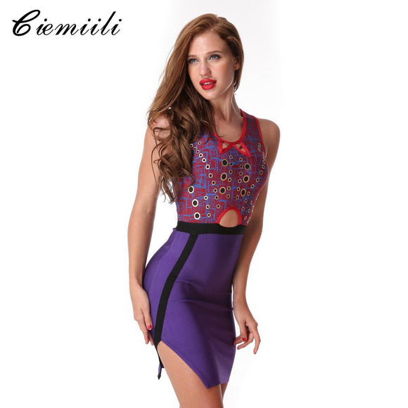 CIEMIILI 2017 O-Neck Hollow Out Women Bandage Dress Sleeveless Evening Party New Sexy Dresses Celebrity Bodycon Purple Vestidos