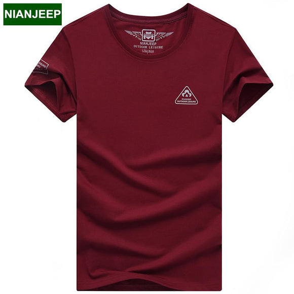 New 2017 Summer NIANJEEP brand Cotton men's T-shirt male short sleeve T shirts Solid casual Fit O-neck young T shirt men Tops