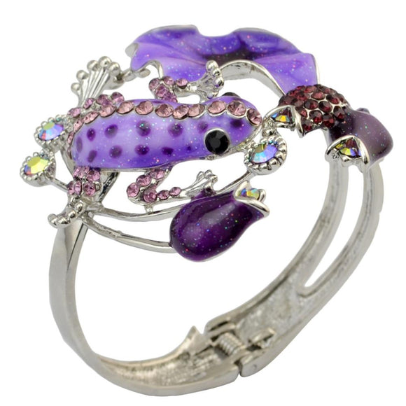 Lady Vintage Silver Plated Cuff Bangle Rhinestone Flower Fashion National Style Enamel Glaze Frog Opened Bracelets for Women