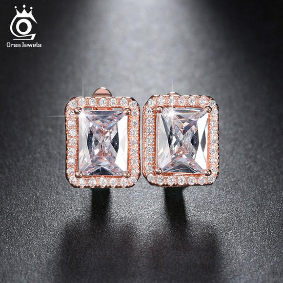ORSA JEWELS Ear Stud Earring with Luxury 2ct Square AAA Austrian Cubic Zirconia 3 Colors Romantic Earrings Jewels for Women OE95