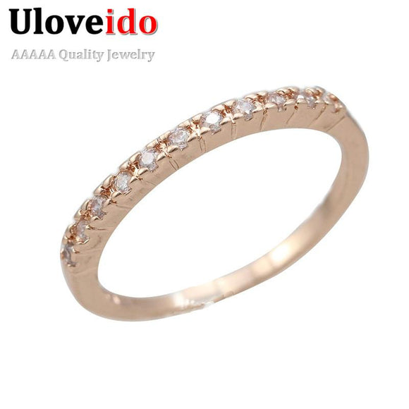 Women Wedding Rings Fianit Rose Gold Color Cubic Zirconia Engagement Ring Female Jewelry Anillos Gift Jewely