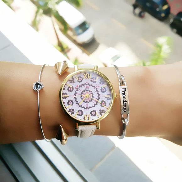 Relogio feminino luxury women watches Floral Pattern PU Leather Band Analog Quartz Wrist Watch bayan kol saati 2017 reloj