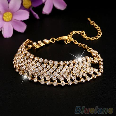 Women Multilayer Rhinestone Alloy Party Wedding Cuff Bangle Chain Bracelet 1Q73