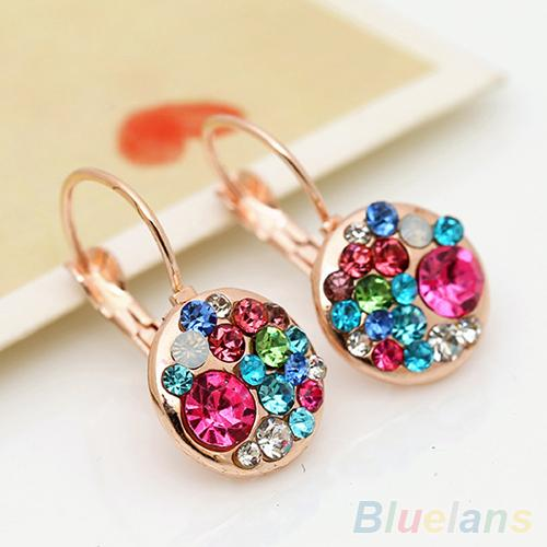 Women's Fashion Glass Coloured Glaze Rhinestone Ear Clip Crystal Earrings 1RM5