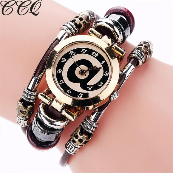 CCQ Brand Fashion Vintage Cow Leather Bracelet Watches Casual Women Crystal Quartz Watch Relogio Feminino