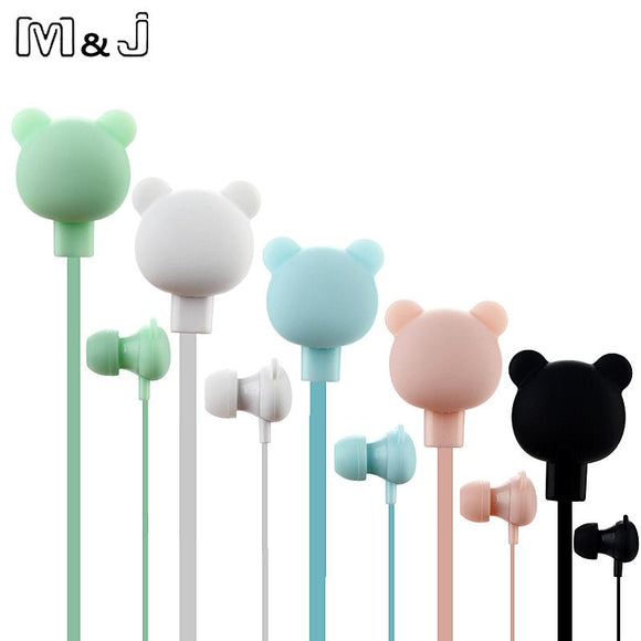 M&J Colorful Cartoon Cute Earphone Studio with Mic Button Remote Bear Earpod for for iPhone Samsung Huawei xiaomi Birthday Gift