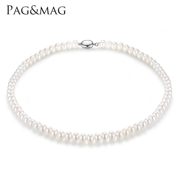 PAG&MAG Brand 7-8mm Natural Freshwater Pearl Necklace Single Necklace for Women High Brightness Pearl Beaded Chocker