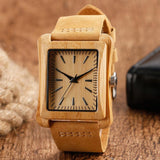 Creative Rectangle Dial Nature Handmade Wood Bamboo Genuine Leather Band Strap Fashion Men Women Bangle Quartz Wrist Watch Gift