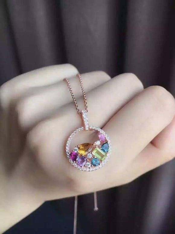 Natural Multi-color tourmaline pendant S925 silver Natural sapphire Pendant Necklace trendy Large round women party jewelry