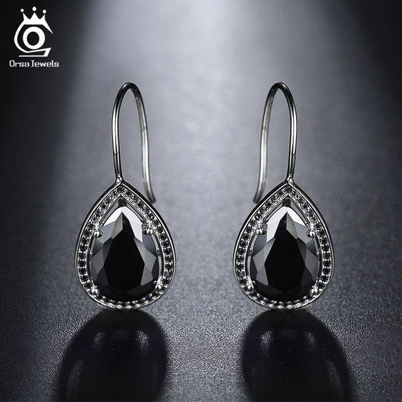 ORSA JEWELS Fashion Elegant Earrings Black Clear Big Water Drop Cubic Zircon Style Stud Earrings Jewelry Gift for Women OE164
