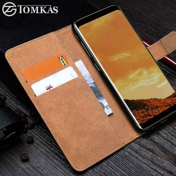 TOMKAS Case For Samsung Galaxy S8 PU Leather Wallet Business Cover For Galaxy S8 Plus Flip Phone Bag Cover For Samsung S8 Cases