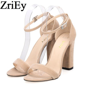 ZriEy ankle strap pumps summer shoes woman large size 35-42 chunky high heels women sandals candy colors bride party BY17864