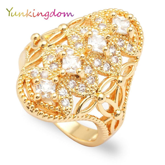 Yunkingdom elegant fashion crystal rhinestone rings for women ladies female costume jewelry wholesale