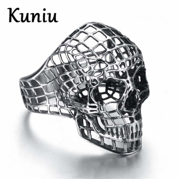 KUNIU Fashion Vintage Europe Hollow skull rings for men snake skin rock Ring Stainless Steel Rings