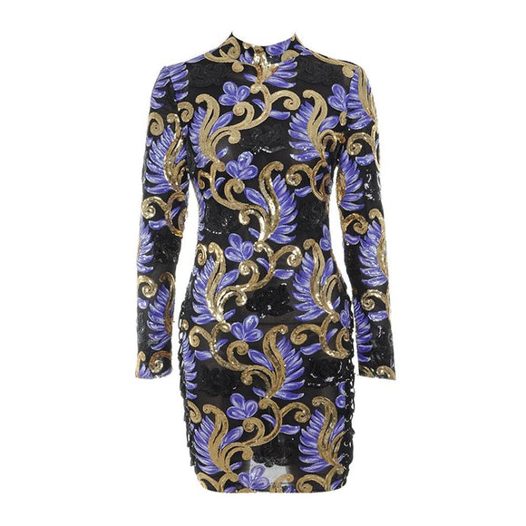 New Year Fshion 2017 Purple and Gold Sequined Mini Dress Bodycon Long Sleeve Sexy Night Club for Women