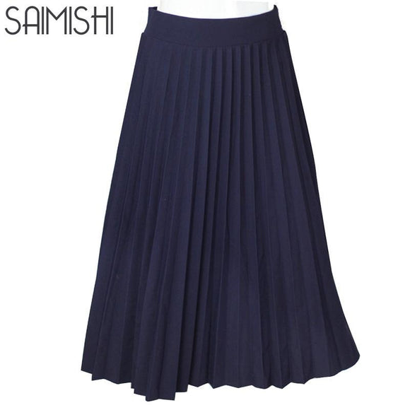 Women Skirts High Quality Spring Autumn Summer Style Women's High Waist Pleated Length Skirt 2017 Hot Fashion Thick Breathble