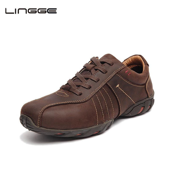 LINGGE Men's Shoes Full Grain Leather Vintage Lace Up Leather Casual Shoes 2017 Black Dress Shoes For Men #521