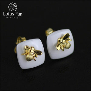 Lotus Fun Real 925 Sterling Silver Natural Handmade Designer Fine Jewelry Bee Kiss from a Rose Stud Earrings for Women
