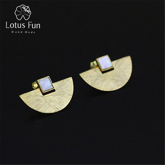 Lotus Fun Real 925 Sterling Silver Natural Stone Handmade Fine Jewelry Vintage Luxury and Simple Stud Earrings for Women Brincos