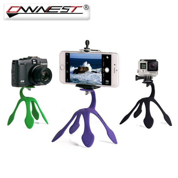 Ownest Mini Gekko Tripod Mount Portable Flexible Phone Holder Stand For iPhone Samsung Xiaomi SJCAM Camera Accessories