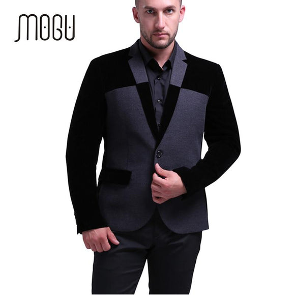 MOGU 2017 New Winter Autumn Wool Blazer Men Slim Fit Men Blazer Designs Costume Homme Contrast Color Terno Masculino Size M-5XL