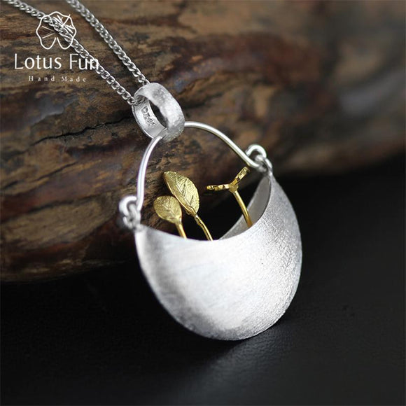 Lotus Fun Real 925 Sterling Silver Handmade Fine Jewelry My Little Garden Design Pendant without Necklace for Women