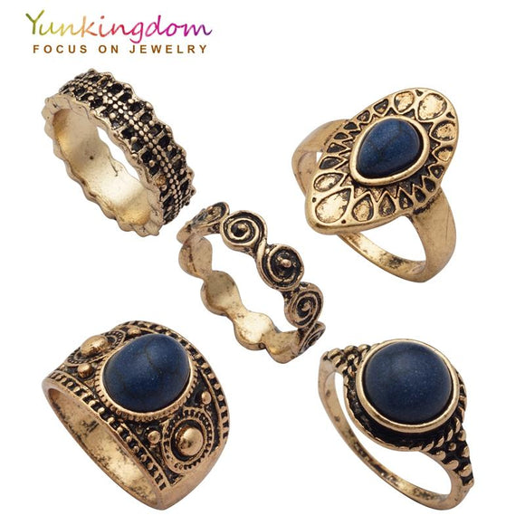 Yunkingdom New Vintage Ring Set Fashion Charms Ancient Antique Gold Color Rings Women Ladies jewelry Ring Sets