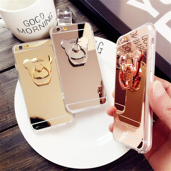 Cartoon Bear Mirror Case Ultra Thin Clear Soft Gel Ring Holder Phone Case Cover For iPhone X 8 7 7Plus 4S 5 5S 6 6S Plus 6Plus