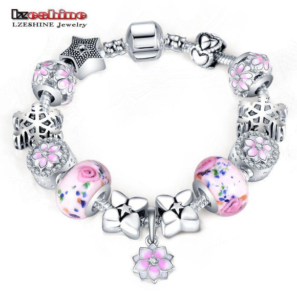 LZESHINE Original Charm Bracelet with Flower Enamel Beads Antique Silver Women Glass Bracelet & Bangle Fit Women Jewelry