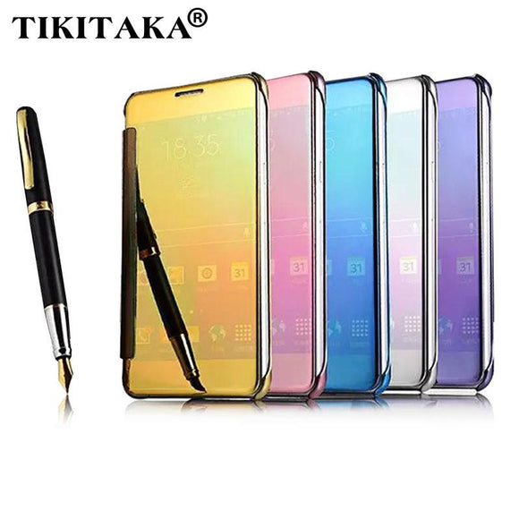 A5 Flip Mirror Leather PC Case For Samsung Galaxy A5 A7 A8 A9 Galaxy Note 4 / 5 Cover Protector Shell View Window Clear UV