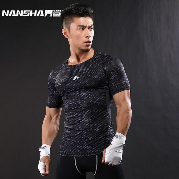 NANSHA 2017 Quick Dry Slim Fit Tees Men Printed T-Shirts Compression Shirt Tops Bodybuilding Fitness O-Neck Short Sleeve T Shirt