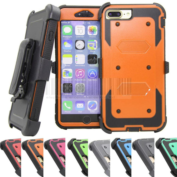 Armor Hybrid Holster Cases With 360 Degree Belt Clip Kickstand Heavy Duty Shockproof Hard Cover For Apple iPhone 7/7 Plus @