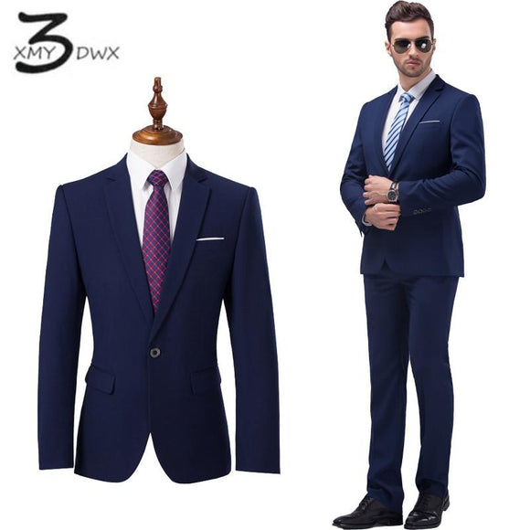 XMY3DWX (jackets+pants) Men's high-end business slim fit BLAZERS/Male wedding dress/Man's casual two-piece suit size S-5XL