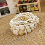 ZOSHI Bohemia Beach Style Brand Jewelry multi layers Bracelet Alloy Color Acrylic Beads Rope Chain Bracelets For Women
